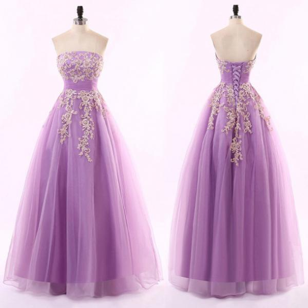 Purple Strapless A-line Tulle Long Prom Dress with Floral Appliqués