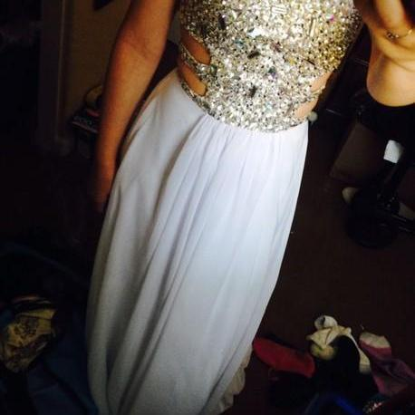 Beading Prom Dresses,Charming White Evening Dress,White Prom Gowns,Prom Dresses,2016 New Prom Gowns