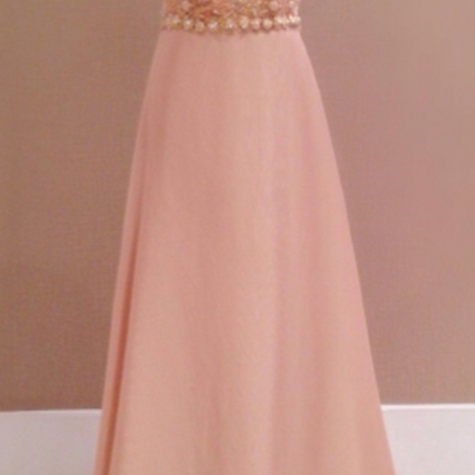 2017 New Style Prom Dress Blush Pink Chiffon Evening Gowns
