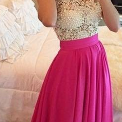 Elegant Lace Prom Dresses,Pink Chiffon White Lace Formal Evening Gowns