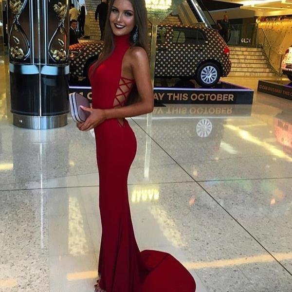 Mermaid Sexy Sweep-Train Sleeveless Red High-Neck Prom Dress Evening Dress,Long Evening Gowns