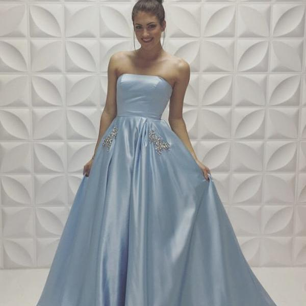 A-line Baby-Blue Sleeveless Strapless Beads Newest Prom Dress