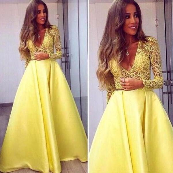 Custom Made Yellow Lace V-Neck Satin Long Sleeves Evening Dress, Prom Dresses