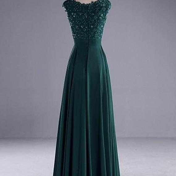 Charming Hunter Crew Neck Sleeveless Floor Length Pleats Prom Dress with Beading Lace