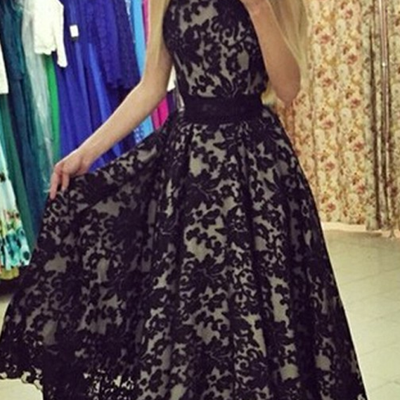Jewel Sleeveless Hi-Low Black Lace Prom Dress with Sash