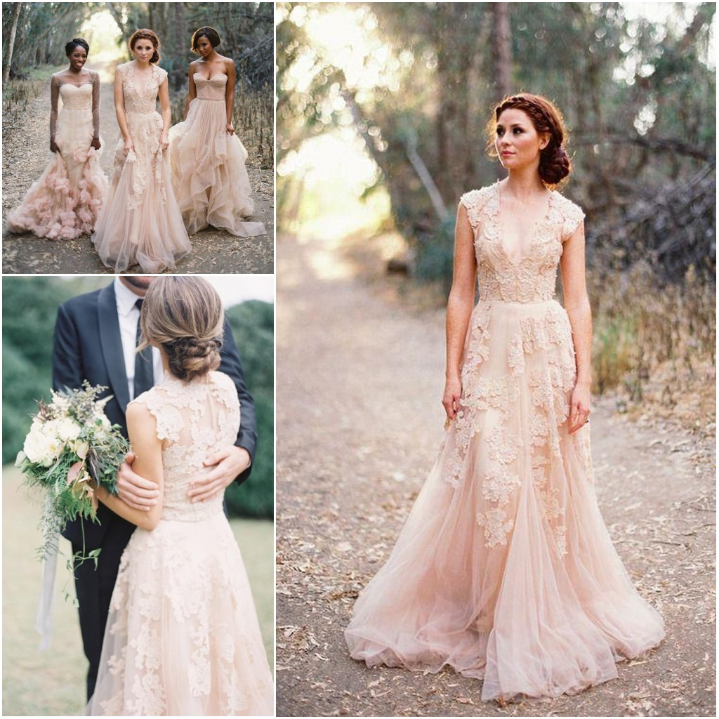 Custom made v neck lace wedding dresses 2017 puffy bridal for Bridesmaid dresses for a garden wedding