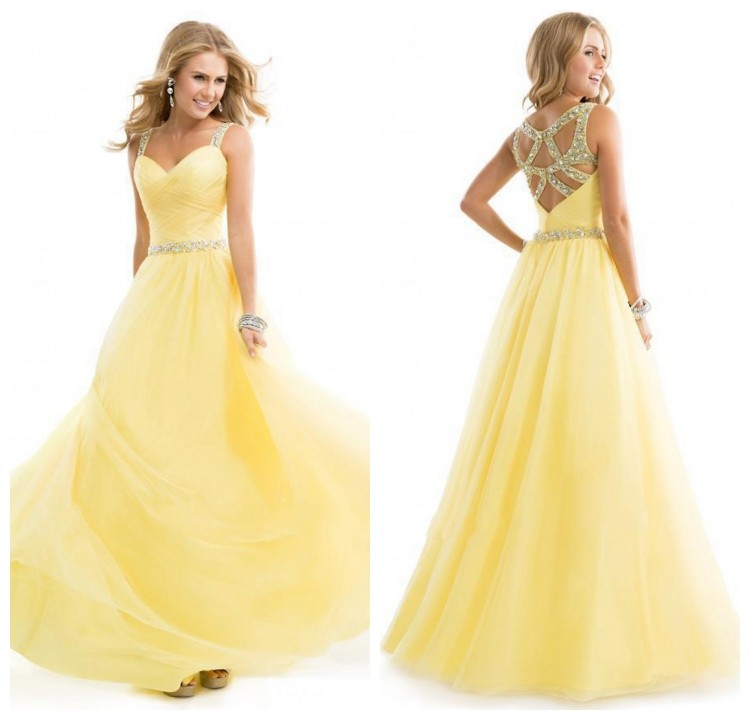 Prom dress yellow prom dress sexy prom dress prom dress for Yellow wedding dresses for sale
